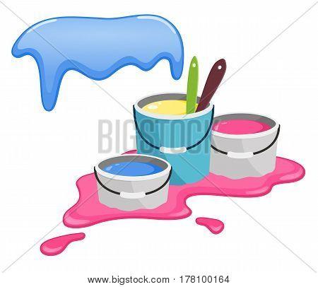 Buckets with paint. Splashes of paint. Happy Holi celebrations.