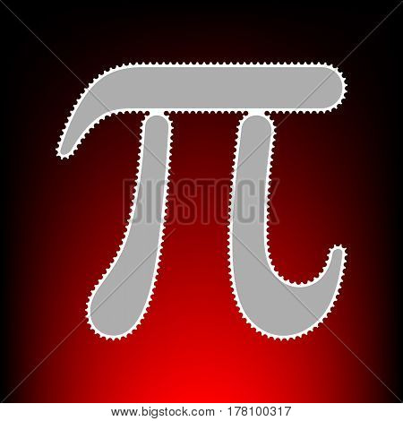 Pi greek letter sign. Postage stamp or old photo style on red-black gradient background.