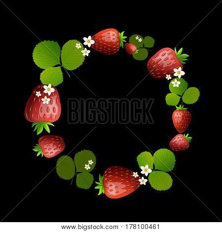 Strawberry round border frame.Vector text frame illustration made of strawberry with leaves isolated on a black.