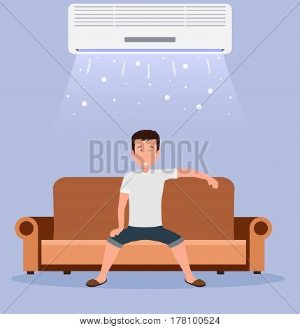 Home air conditioning, room with cooling, a man on the couch with climate control in room.