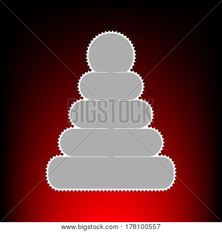 Pyramid sign illustration. Postage stamp or old photo style on red-black gradient background.