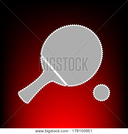 Ping pong paddle with ball. Postage stamp or old photo style on red-black gradient background.