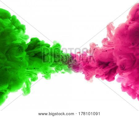 Acrylic colors and ink in water. Abstract background. Isolated.
