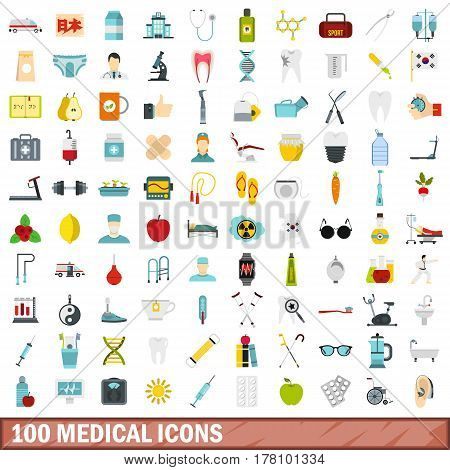 100 medical icons set in flat style for any design vector illustration