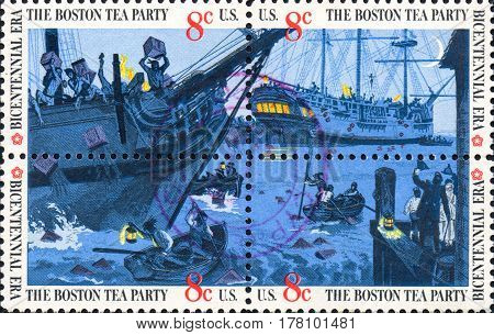 UKRAINE - CIRCA 2017: A set of four postage stamps printed in USA showing an scene of The Boston Tea Party. Colonists protest against the tax on tea. Bicentennial era circa 1973