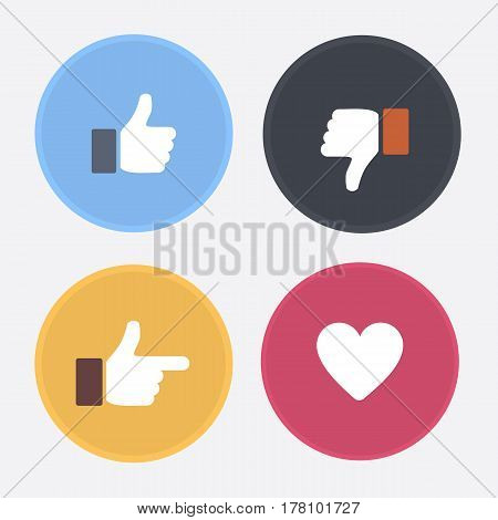 Thumbs up and down heart signs on colorful round flat vector icons. Simple buttons with user feedback for social network mobile app or web site design