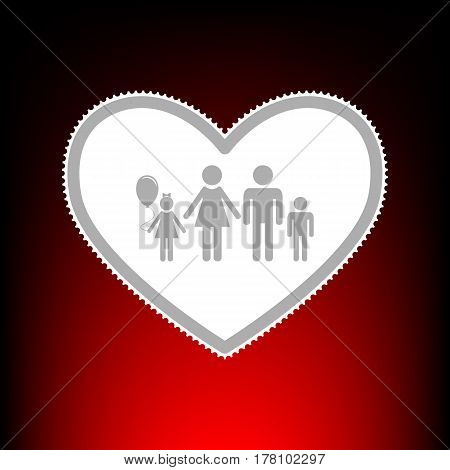 Family sign illustration in heart shape. Postage stamp or old photo style on red-black gradient background.