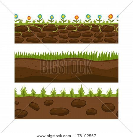 Cross section ground brown slice isolated some piece nature outdoor ecology underground and freestanding render garden natural geologist earth vector illustration. Ecology agriculture crosssection.