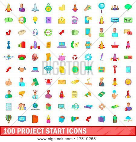 100 project start icons set in cartoon style for any design vector illustration