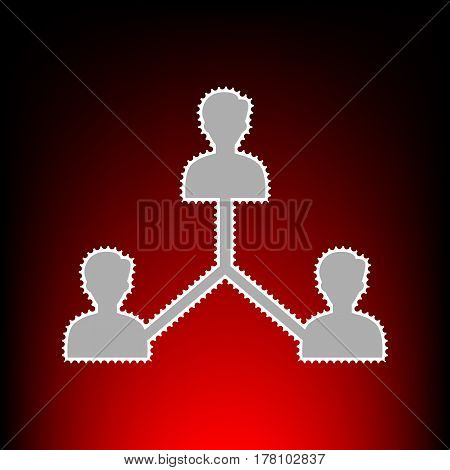 Social media marketing sign. Postage stamp or old photo style on red-black gradient background.
