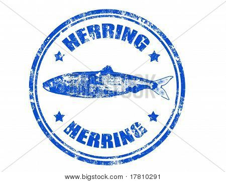 Grunge rubber stamp of a herring fish and the word herring written inside poster