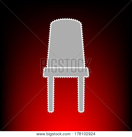 Office chair sign. Postage stamp or old photo style on red-black gradient background.