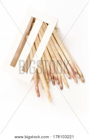 Bunch Of White Asparagus Spears In A Box, On White Background