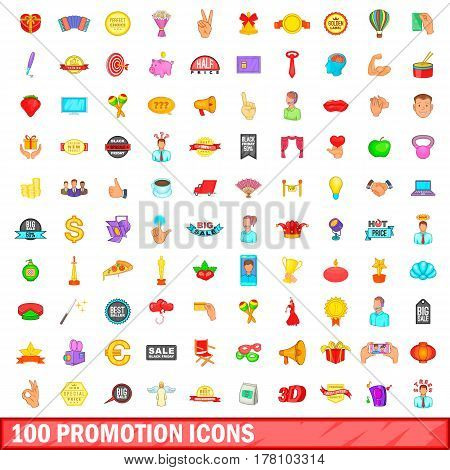 100 promotion icons set in cartoon style for any design vector illustration