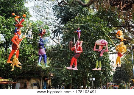 Fort Cochin, India - 16 January 2015: Colorful statues on the central park of Fort Cochin on India