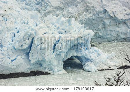 huge blue wall of perito moreno glacier in argentina patagonia
