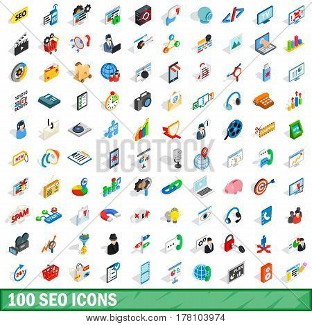 100 seo icons set in isometric 3d style for any design vector illustration
