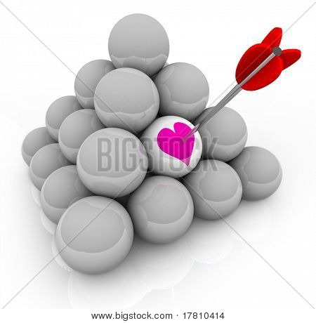 A pyramid of white balls with an arrow stuck in one that shows a pink heart, symbolizing the hunt for love and finding romance