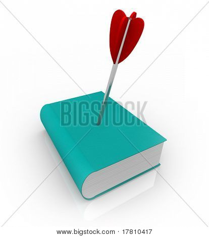 A book with an arrow in its cover, symbolizing the killing of printed media due to the rise of technology: e-books and e-readers