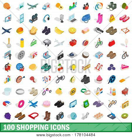100 shopping icons set in isometric 3d style for any design vector illustration