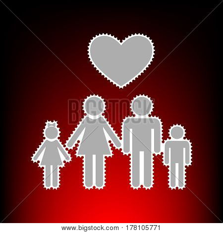 Family symbol with heart. Husband and wife are kept children's hands. Love. Postage stamp or old photo style on red-black gradient background.