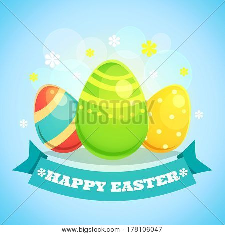 Happy Easter Card with Eggs. Vector illustration in retro cartoon style