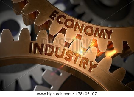 Economy Industry on the Mechanism of Golden Gears with Lens Flare. Economy Industry Golden Cog Gears. 3D Rendering.