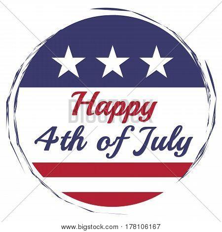 Happy Fourth of July illustration on white background