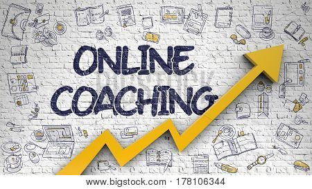 Online Coaching Inscription on Modern Illustation. with Orange Arrow and Doodle Design Icons Around. Online Coaching - Improvement Concept on White Brick Wall Background. 3d.