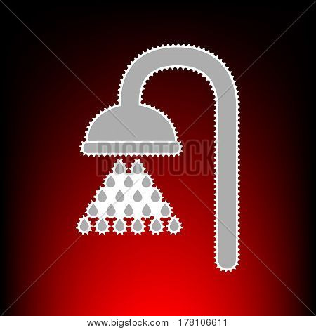 Shower sign. Postage stamp or old photo style on red-black gradient background.