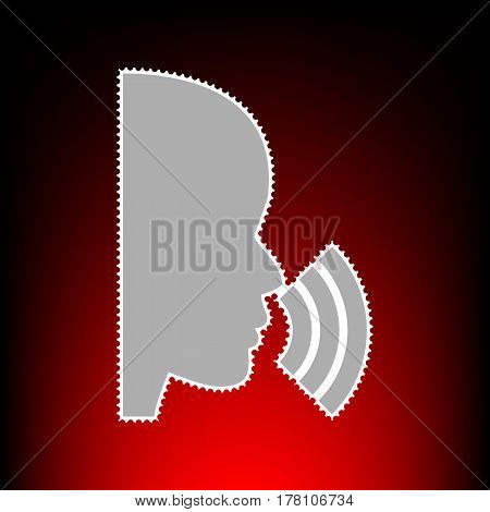 People speaking or singing sign. Postage stamp or old photo style on red-black gradient background.