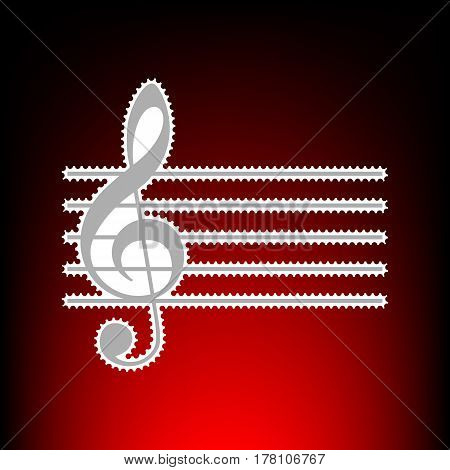 Music violin clef sign. G-clef. Postage stamp or old photo style on red-black gradient background.