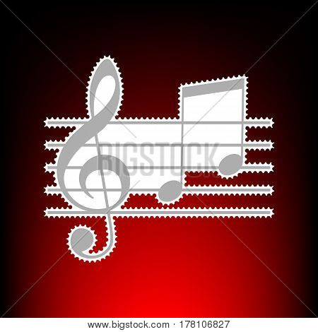 Music violin clef sign. G-clef and notes G, H. Postage stamp or old photo style on red-black gradient background.
