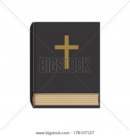 Flat style vector illustration of Holy Bible isolated on white. Church book.
