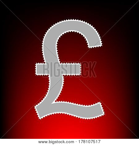 Turkish lira sign. Postage stamp or old photo style on red-black gradient background.