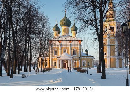 UGLICH, YAROSLAVL OBLAST/ RUSSIA - JANUARY 30, 2017: Path to the Transfiguration Cathedral of the Uglich Kremlin in winter