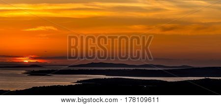 areal view of the losinj island at sunset croatia europe