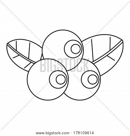 Blueberries with leaves icon. Outline illustration of blueberries with leavesvector icon for web