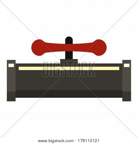 Red valve pipe icon. Flat illustration of red valve pipe vector icon for web isolated on white background