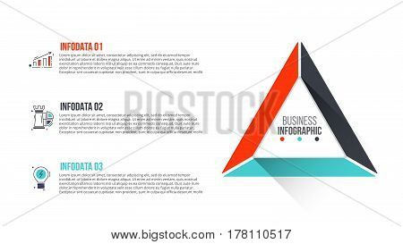 Vector triangle infographic. Template for cycle diagram, graph, presentation and chart. Business concept with 3 options, parts, steps or processes. Stroke icons.