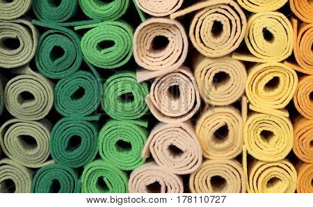 Rolls Of Cloth And Felt For Sale In The Shop For Amateur Tailors