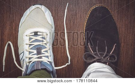 the opposing shoe styles sport and business