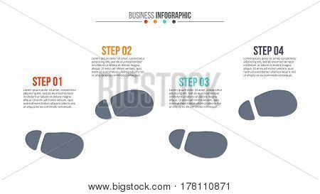 Vector footprints for infographic. Template for diagram, graph, presentation and chart. Business concept with 4 options, parts, steps or processes. Abstract background.