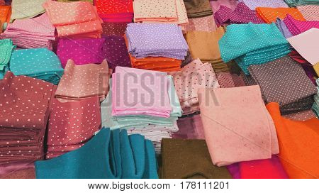 many pieces of fabric and felt for sale at wholesale in the haberdashery shop