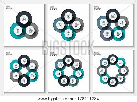 Business data visualization. Abstract flat elements of cycle diagram with 3, 4, 5, 6, 7 and 8 steps, options, parts. Vector business template for presentation. Creative concept for infographic.