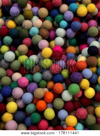Background Of Multicolored Felt Balls
