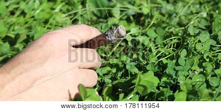 Hand Of A Chain Smoker With Cigar
