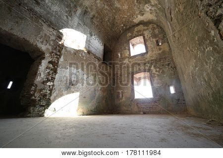 Room Of The Ruins Of An Ancient Fortess Used By Soldiers During