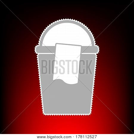 Bucket and a rag sign. Postage stamp or old photo style on red-black gradient background.