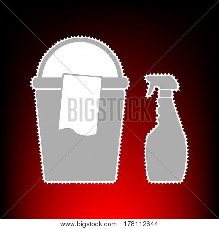 Bucket and a rag with Household chemical bottles. Postage stamp or old photo style on red-black gradient background.